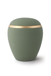 Keramikurne oliv-grün Dekor antikgold