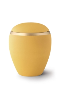 Keramikurne Samtton Sonnengelb Dekor antikgold
