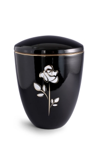 Keramikurne tiefschwarz glänzend Motiv Rose