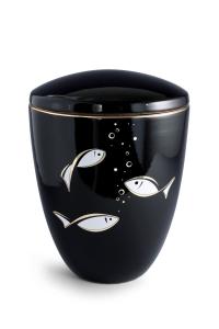 Keramikurne tiefschwarz glänzend Motiv Fische
