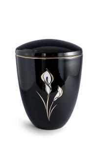 Keramikurne tiefschwarz glänzend Motiv Calla