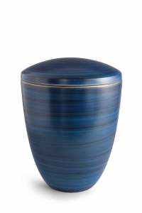 Keramikurne Pazifikblau von Hand bemalt