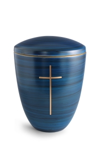 Keramikurne Pazifikblau von Hand bemalt mit mattiertem Kreuz