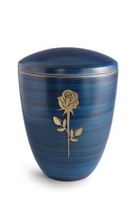 Keramikurne Pazifikblau von Hand bemalt mit mattierter Rose