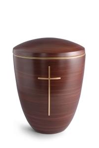 Keramikurne Kastanienbraun von Hand bemalt mit mattiertem Kreuz