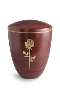Keramikurne Kastanienbraun von Hand bemalt mit mattierter Rose