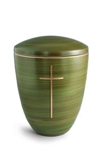 Keramikurne Schilfgrün von Hand bemalt mit mattiertem Kreuz