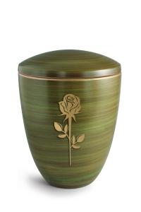 Keramikurne Schilfgrün von Hand bemalt mit mattierter Rose