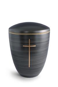 Keramikurne Steingrau von Hand bemalt mit mattiertem Kreuz