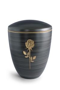 Keramikurne Steingrau von Hand bemalt mit mattierter Rose