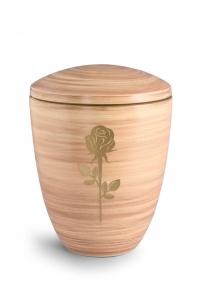 Keramikurne Saharasand von Hand bemalt mit mattierter Rose