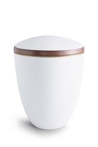 Keramikurne weiß Samtton Deckelrand von Hand bemalt