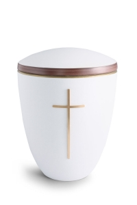 Keramikurne weiß Samtton Deckelrand von Hand bemalt mit mattiertem Kreuz