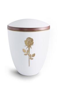 Keramikurne weiß Samtton Deckelrand von Hand bemalt mit mattierter Rose