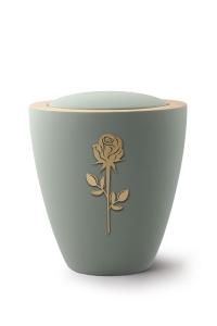 Keramikurne Samtton Oliv, mit mattierter Rose