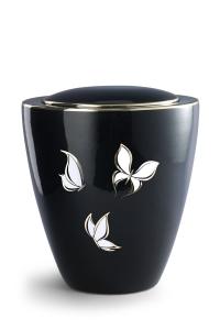 Keramikurne tiefschwarz glänzend Motiv Schmetterlinge