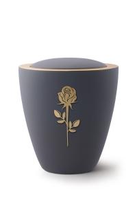 Keramikurne Samtton Graphit, mit mattierter Rose