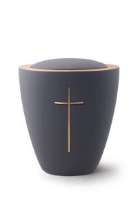 Keramikurne Samtton Graphit, mit mattiertem Kreuz