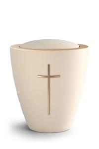 Keramikurne Samtton Creme, mit mattiertem Kreuz