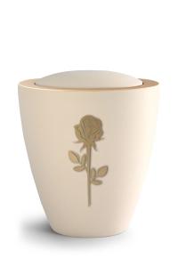 Keramikurne Samtton Creme, mit mattierter Rose