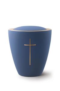 Keramikurne Samtton Marine, mit mattiertem Kreuz
