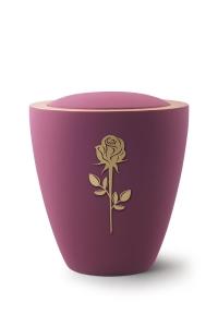 Keramikurne Samtton Burgund, mit mattierter Rose