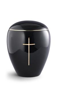 Keramikurne tiefschwarz glänzend, Messingkreuz poliert