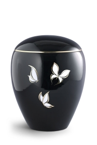 Keramikurne tiefschwarz glänzend, Motiv Schmetterlinge