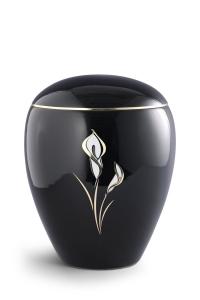 Keramikurne tiefschwarz glänzend, Motiv Calla
