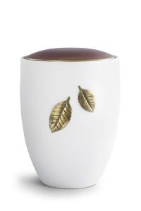 Keramikurne samtweiß, Deckel Kastanienbraun, Motiv Fallende Blätter