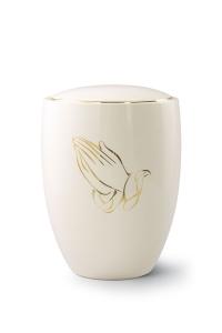 Keramikurne elfenbeinfarben, Motiv Betende Hände