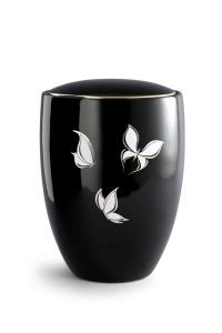 Keramikurne tiefschwarz glänzend, polierte Goldkante, Motiv Schmetterling
