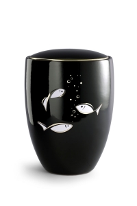 Keramikurne tiefschwarz glänzend, polierte Goldkante, Motiv Fische