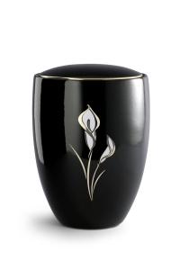 Keramikurne tiefschwarz glänzend, polierte Goldkante, Motiv Calla
