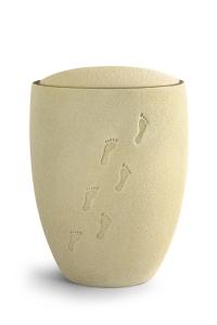 Keramikurne Sandoberfläche, mattierter Goldrand, Motiv Spuren im Sand