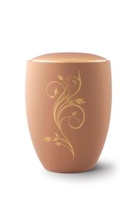 Keramikurne Samtton Sand, Deckel gold, Rankenverzierung