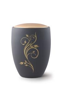 Keramikurne Samtton Graphit, Deckel gold, Rankenverzierung
