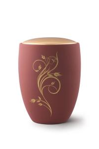 Keramikurne Samtton Rotbraun, Deckel gold, Rankenverzierung
