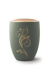 Keramikurne Samtton Palmgrün, Deckel gold, Rankenverzierung