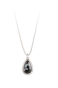 Halbedelstein Amuletum aus 925er Sterling-Silber, Kraftstein Obsidian