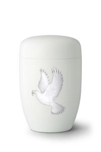 Weiße Stahlurne weiße Taube