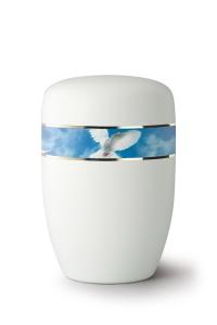 Stahlurne umlaufendes Zierband Friedenstaube, weiß satiniert