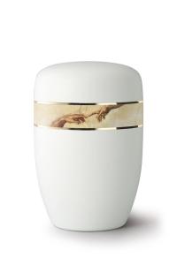 Weiße Stahlurne umlaufendes Zierband Michelangelo Motiv, weiß satiniert
