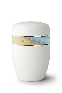 Stahlurne umlaufendes Zierband Spuren im Sand, weiß satiniert
