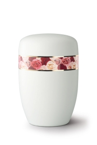 Stahlurne umlaufendes Zierband Rosen, weiß satiniert