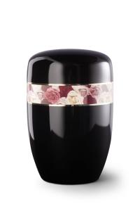 Stahlurne umlaufendes Zierband Rosen, schwarzer Klavierlack