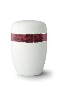 Stahlurne umlaufendes Zierband Rosenbouquet, weiß satiniert