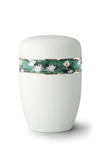 Stahlurne umlaufendes Zierband Seerosen, weiß satiniert