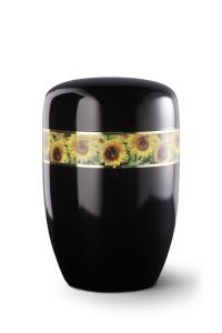 Stahlurne umlaufendes Zierband Sonnenblumen, schwarzer Klavierlack