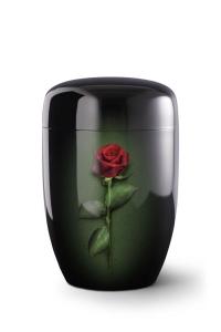 Stahlurne schwarzer Klavierlack, Motiv Rose